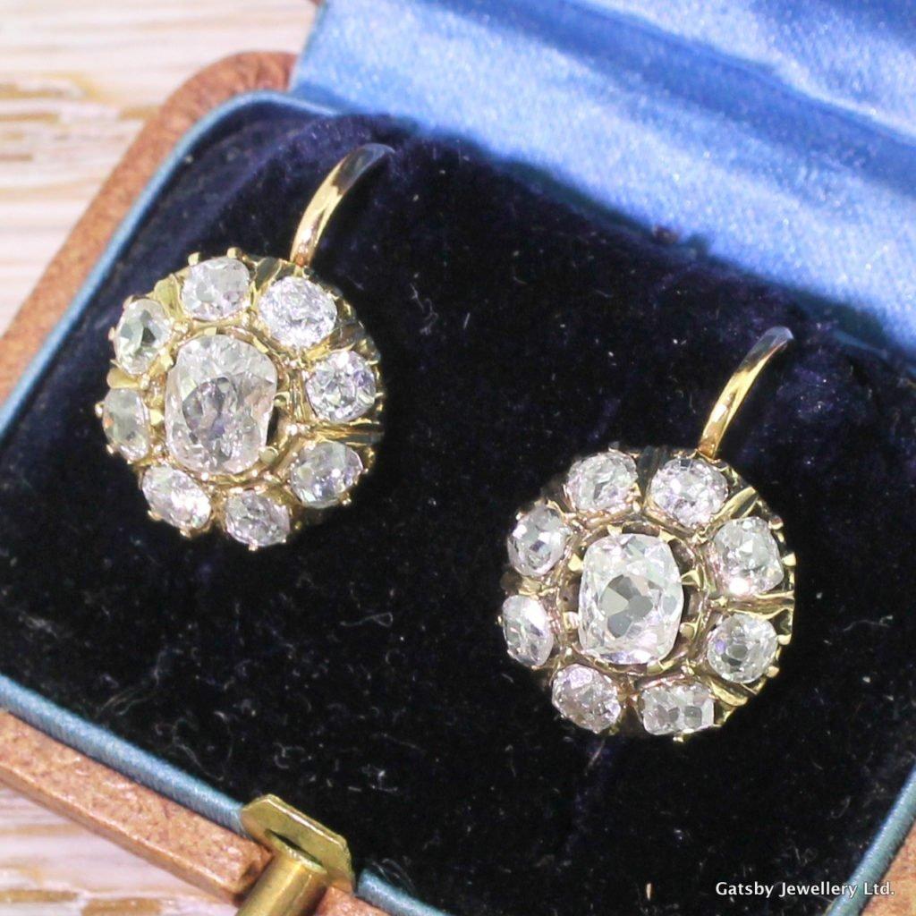 victorian 292 carat old cut diamond cluster earrings circa 1880