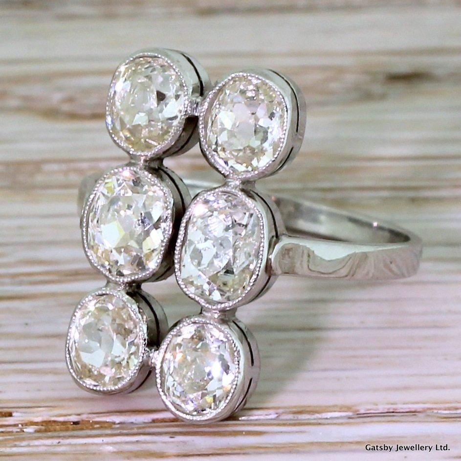 art deco 275 carat old cut diamond six stone ring circa 1920