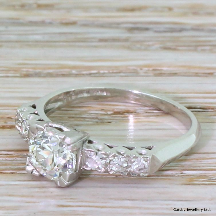 art deco 098 carat old cut diamond engagement ring circa 1925