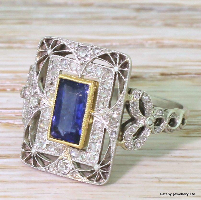 edwardian 118 carat natural burmese sapphire 038 diamond ring french circa 1910