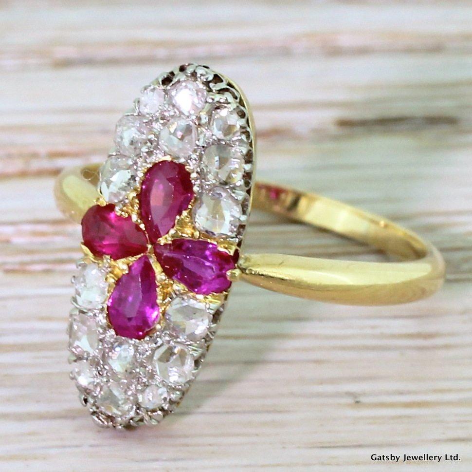 edwardian pear cut ruby 038 rose cut diamond cluster ring circa 1910
