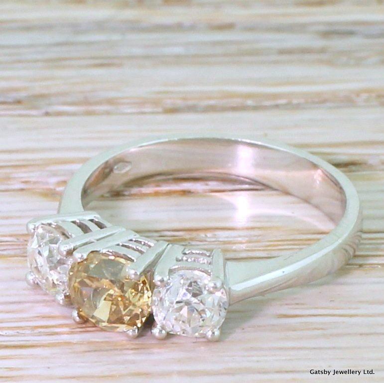 199 carat fancy orangey brown amp white old cut diamond trilogy ring 18k white gold