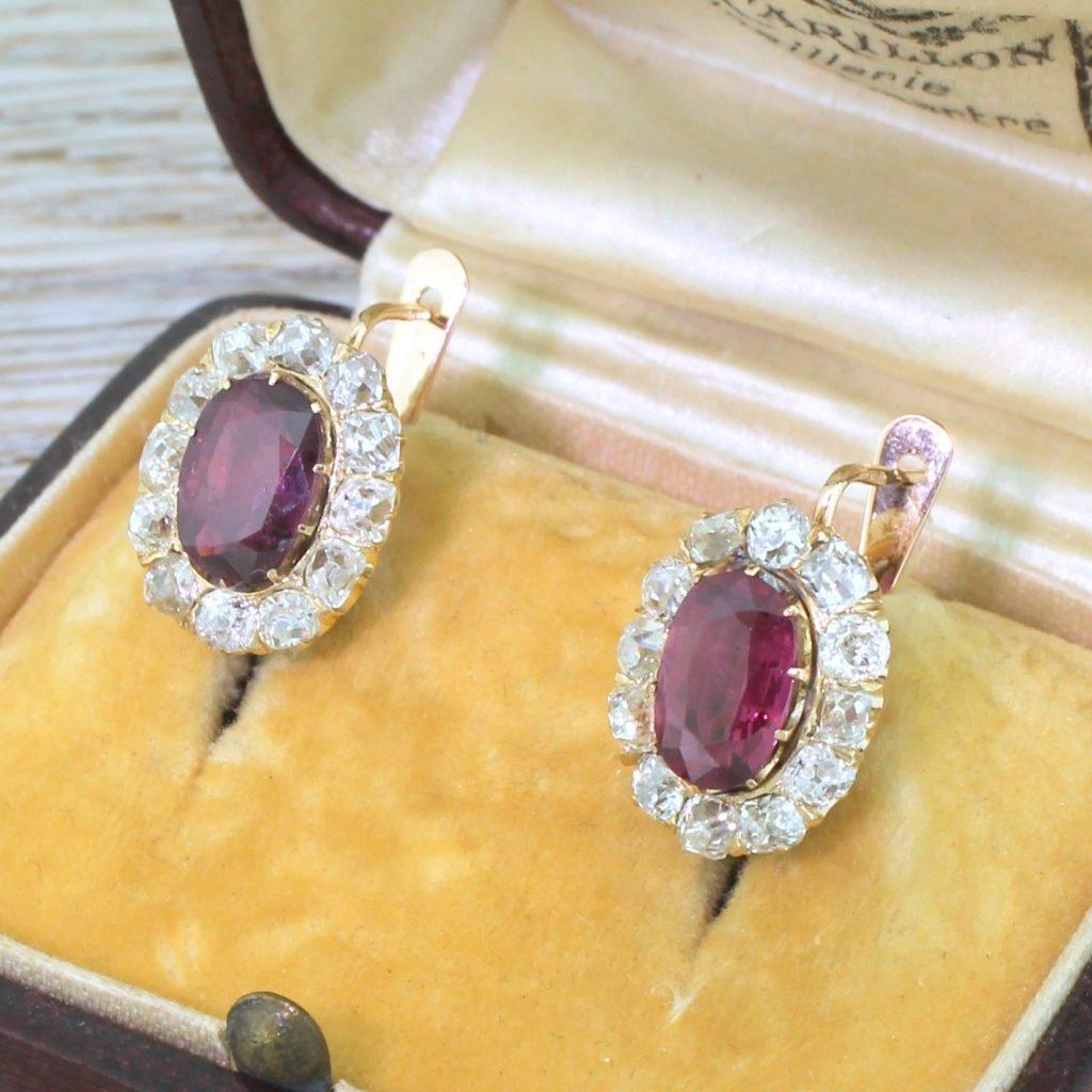 victorian 291 carat ruby 038 218 carat old cut diamond cluster earrings circa 1900