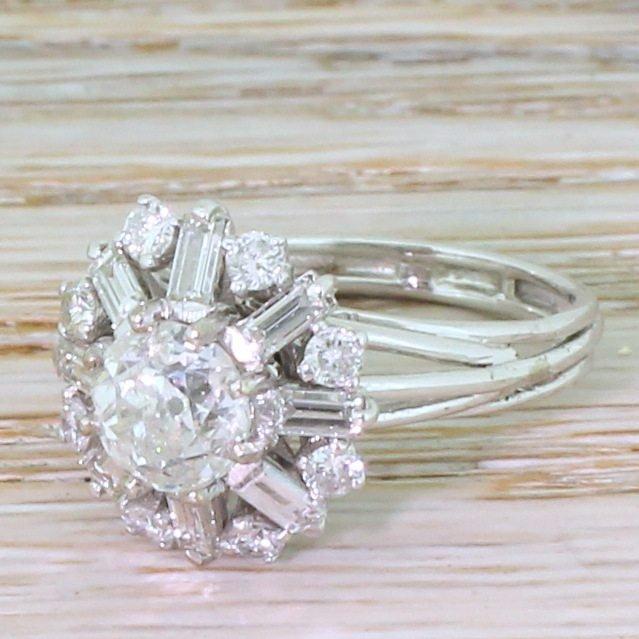 mid century 255 carat old cut round brilliant 038 baguette cut diamond cluster ring circa 1965