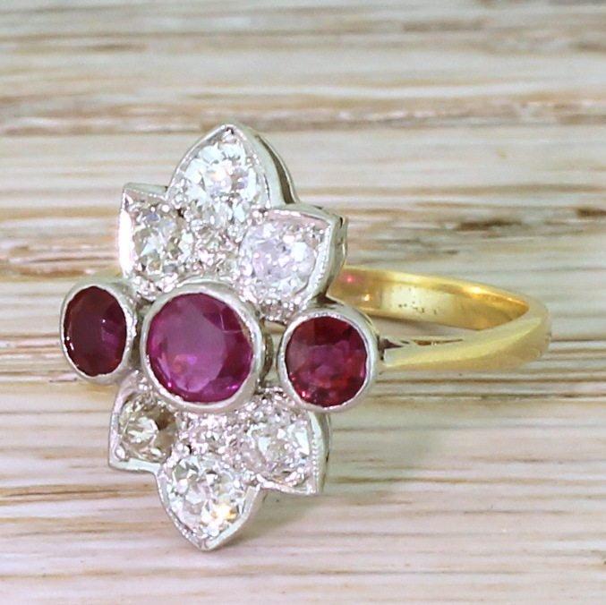 art deco 073 carat ruby 038 090 carat old cut diamond ring circa 1930