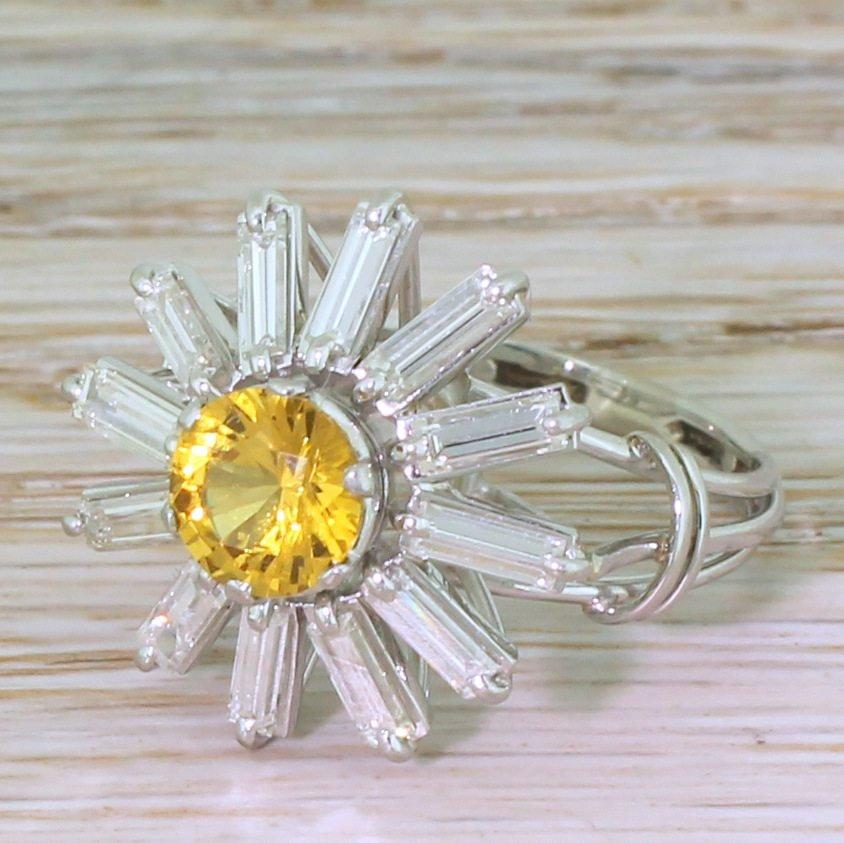mid century yellow sapphire 038 baguette cut diamond 8220sunshine8221 ring circa 1970