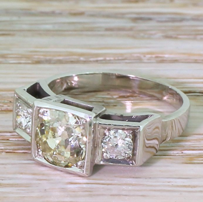 mid century 166 carat old cut diamond trilogy ring circa 1955
