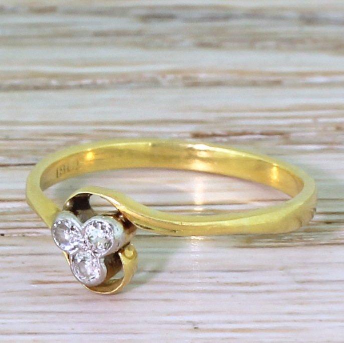 edwardian 015 carat old cut diamond trefoil ring circa 1910