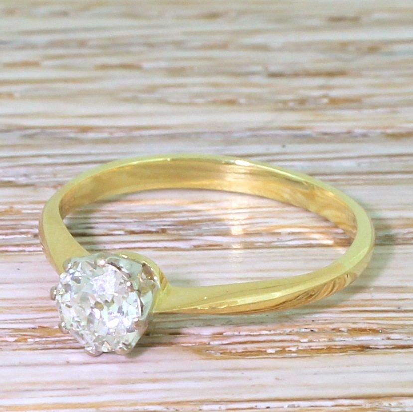 art deco 073 carat old cut diamond engagement ring circa 1940