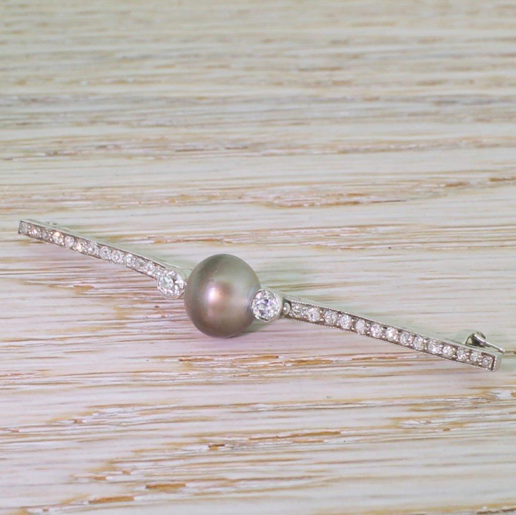 art deco natural tahitian pearl 038 old cut diamond pin brooch circa 1940