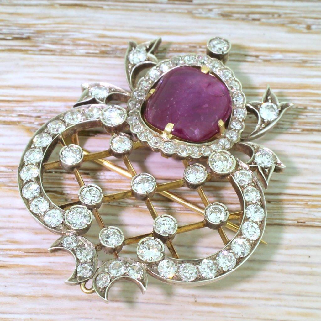 art deco 697 carat burmese ruby 038 406 carat old cut diamond brooch circa 1915