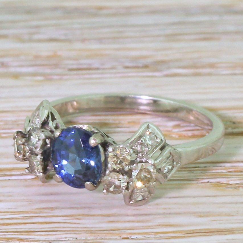 art deco 083 carat sapphire 038 diamond ring circa 1930