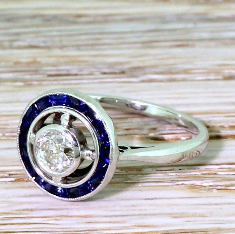 art deco 042 carat old cut diamond 038 sapphire target ring french circa 1935