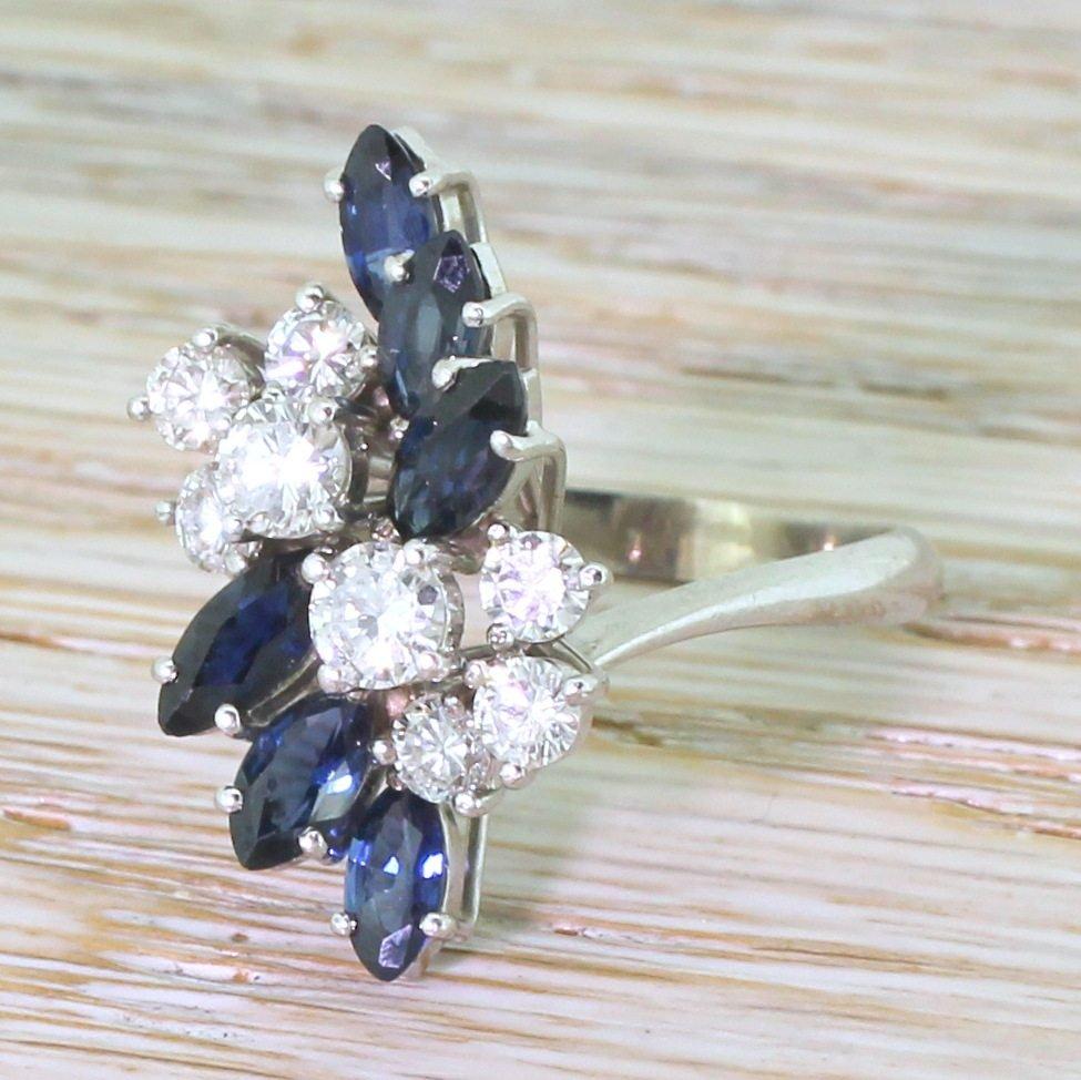 mid century 100 diamond 038 162 carat sapphire spray ring circa 1965