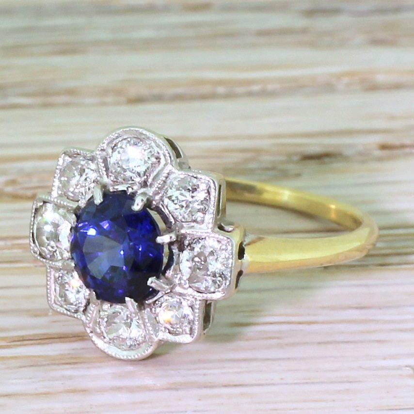 art deco 126 carat sapphire amp old cut diamond cluster ring circa 1930