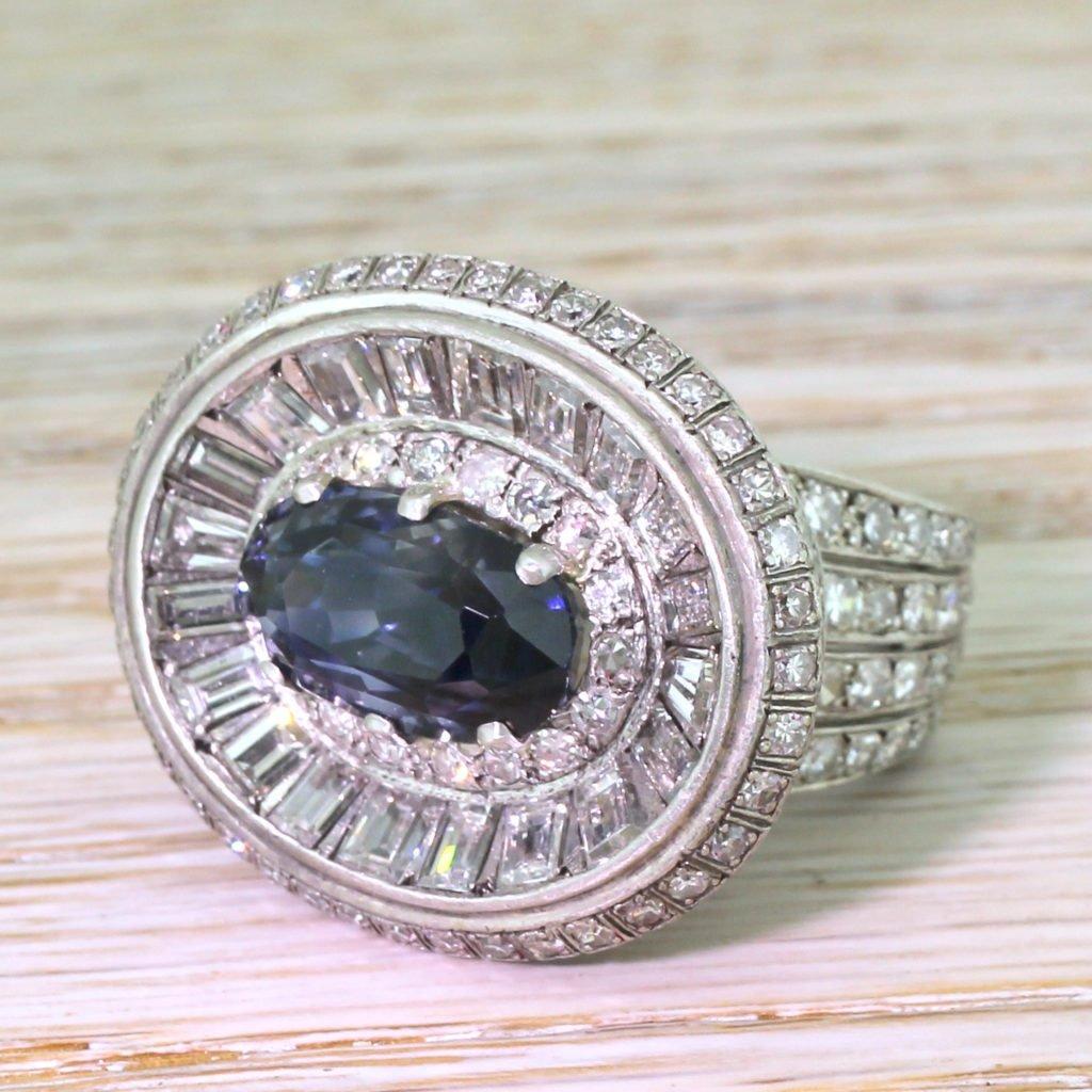 retro 910 carat natural sapphire 038 503 carat diamond ring circa 1950