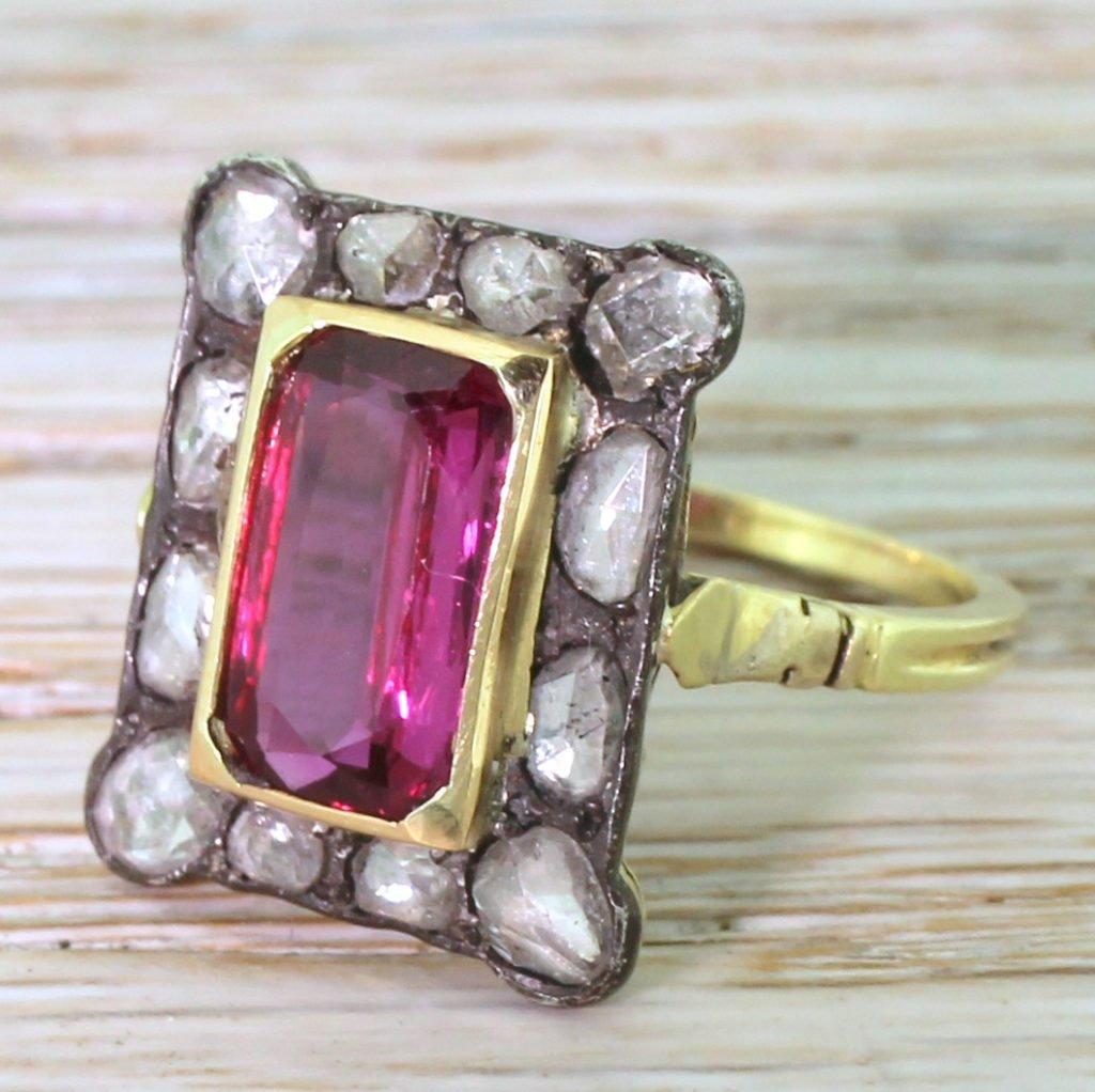 victorian 250 carat ruby 038 rose cut diamond cluster ring circa 1890