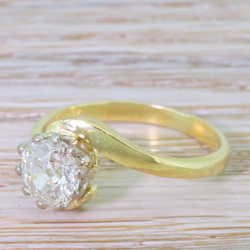 late 20th century 098 carat old cut diamond crossover ring dated 1989