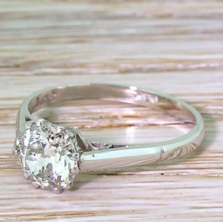 art deco 099 carat old cut colour f diamond engagement ring circa 1925