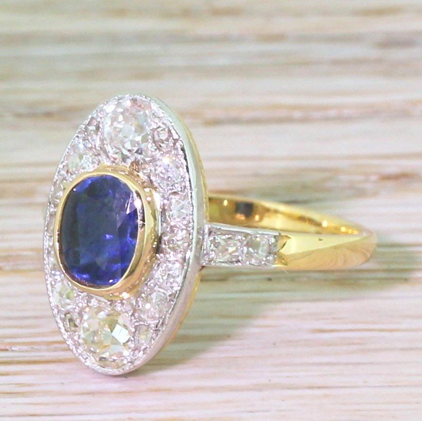 edwardian 119 carat sapphire 038 101 carat old cut diamond cluster ring circa 1910