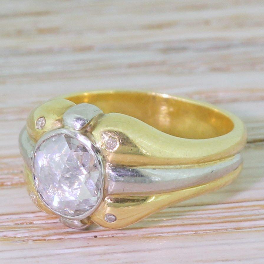 mid century 097 carat rose cut diamond solitaire ring circa 1960