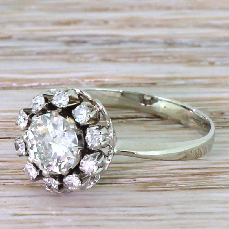 retro 116 carat old cut diamond cluster ring circa 1950