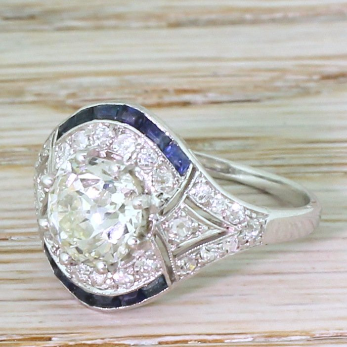 art deco 176 carat old cut diamond 038 baguette cut sapphire ring circa 1920