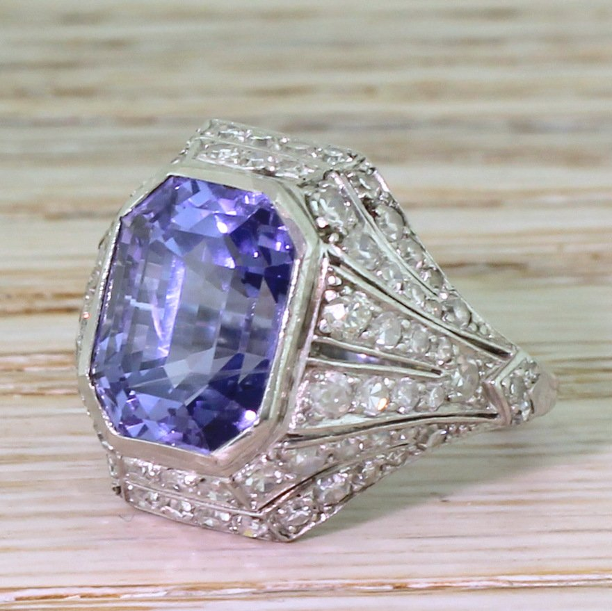 art deco 890 carat natural colourchange sapphire 038 diamond ring circa 1920