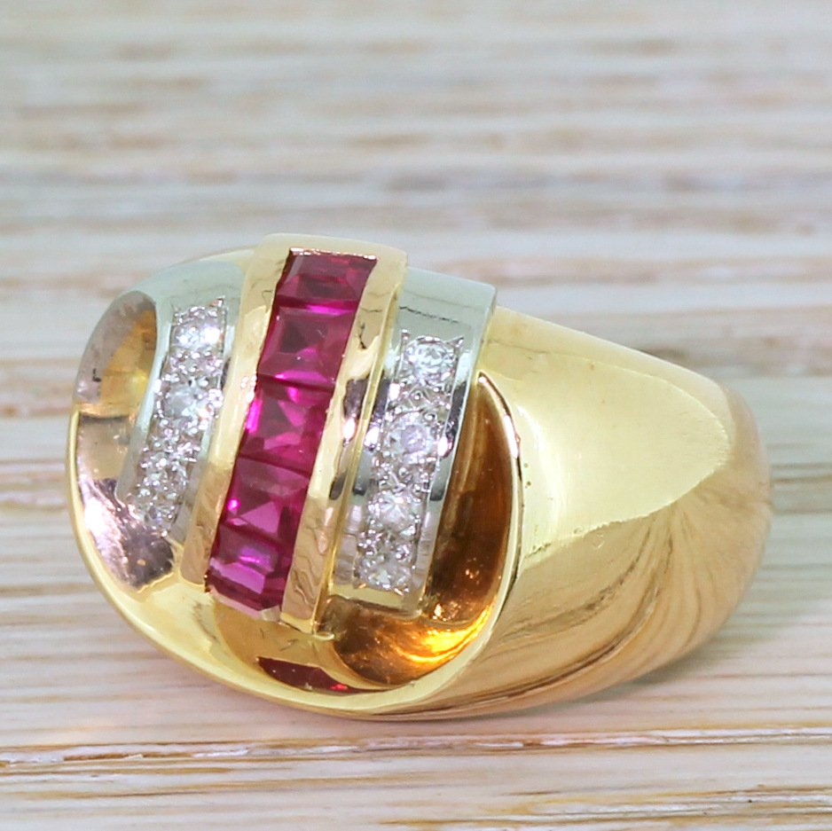 mid century synthetic ruby 038 diamond cocktail ring french circa 1950