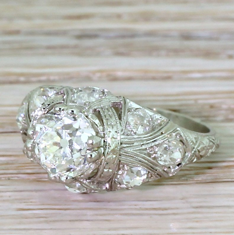 edwardian 251 carat old cut diamond engagement ring circa 1910