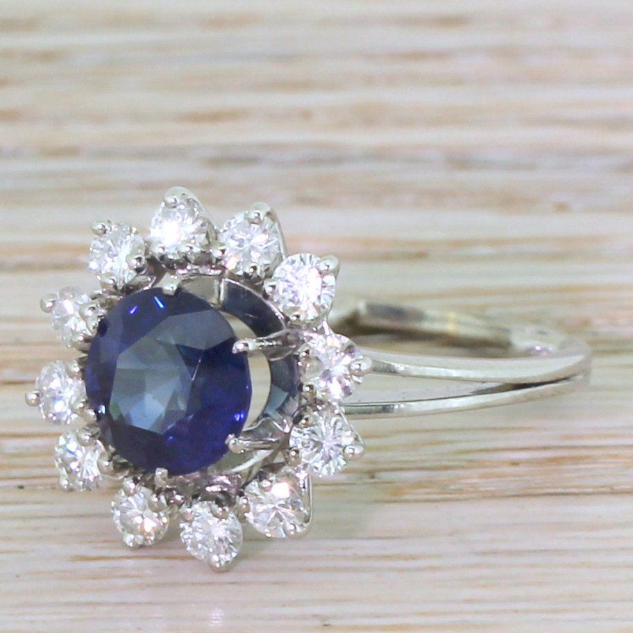 mid century 261 carat natural sapphire amp diamond target ring french circa 1965