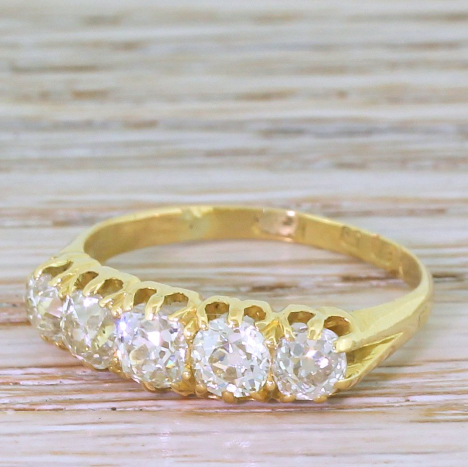 victorian 169 carat old cut diamond five stone ring dated 1886