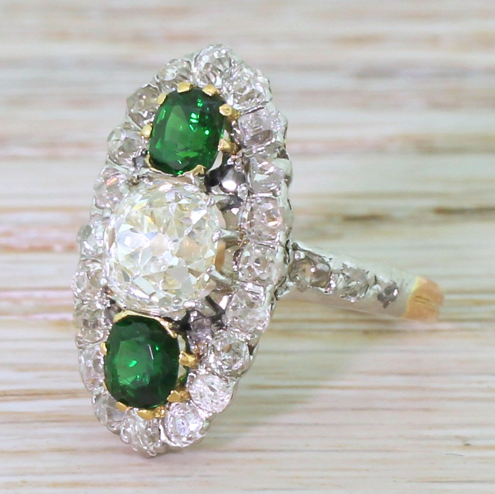 edwardian 235 carat old cut diamond 038 tourmaline cluster ring french circa 1910