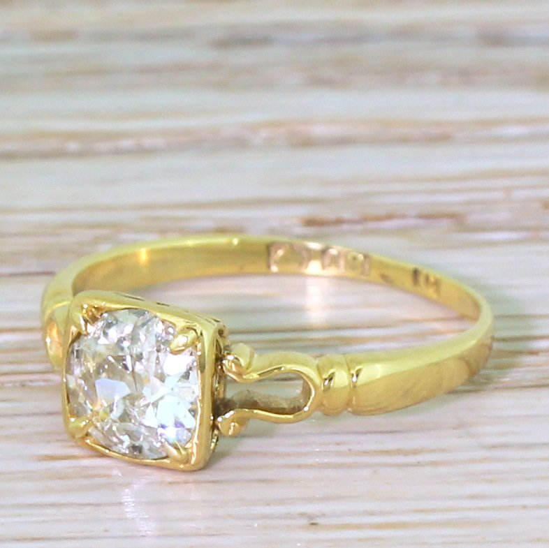 edwardian 076 carat old cut diamond solitaire ring dated 1902