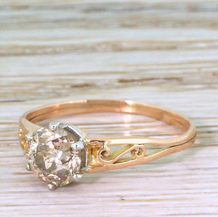 art deco 103 carat orangey brown old cut diamond solitaire ring french circa 1920