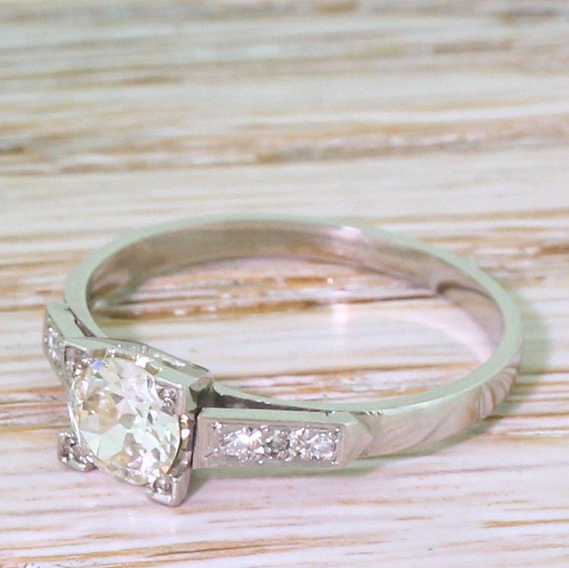 art deco 051 carat old european cut diamond engagement ring circa 1930