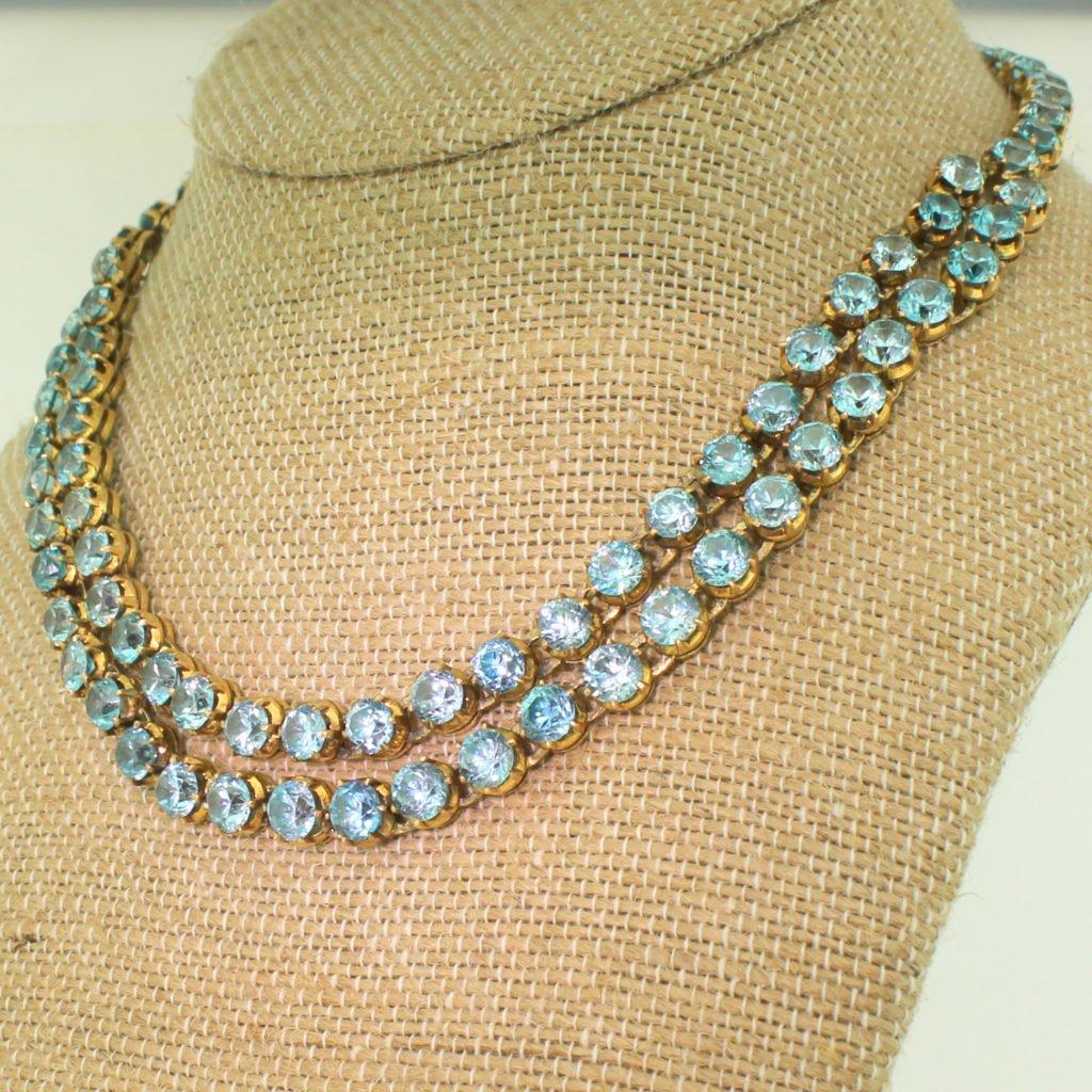 victorian 7064 carat blue zircon double strand necklace circa 1900