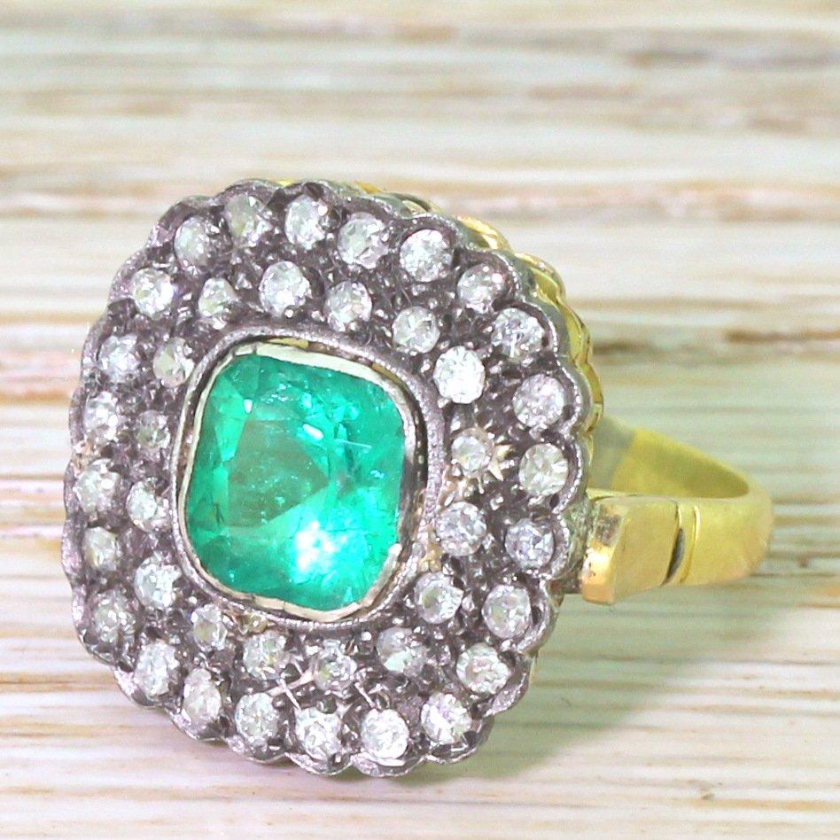 victorian 146 carat colombian emerald 038 old cut diamond cluster ring circa 1890