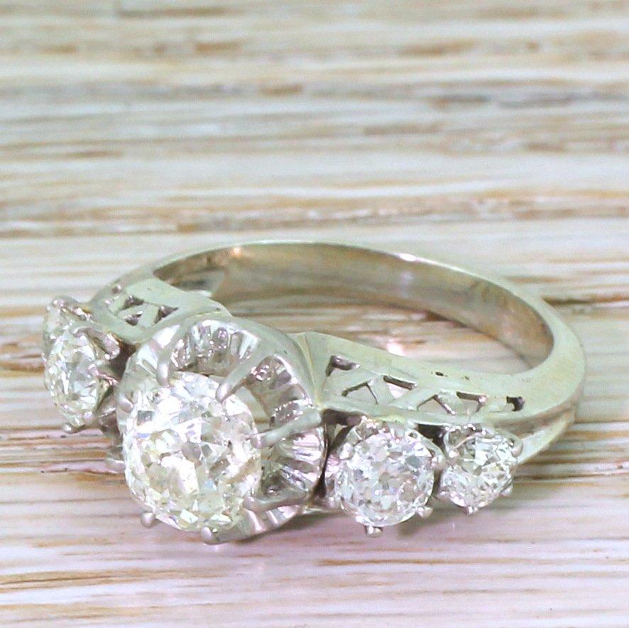 retro 242 old cut diamond five stone ring french circa 1955