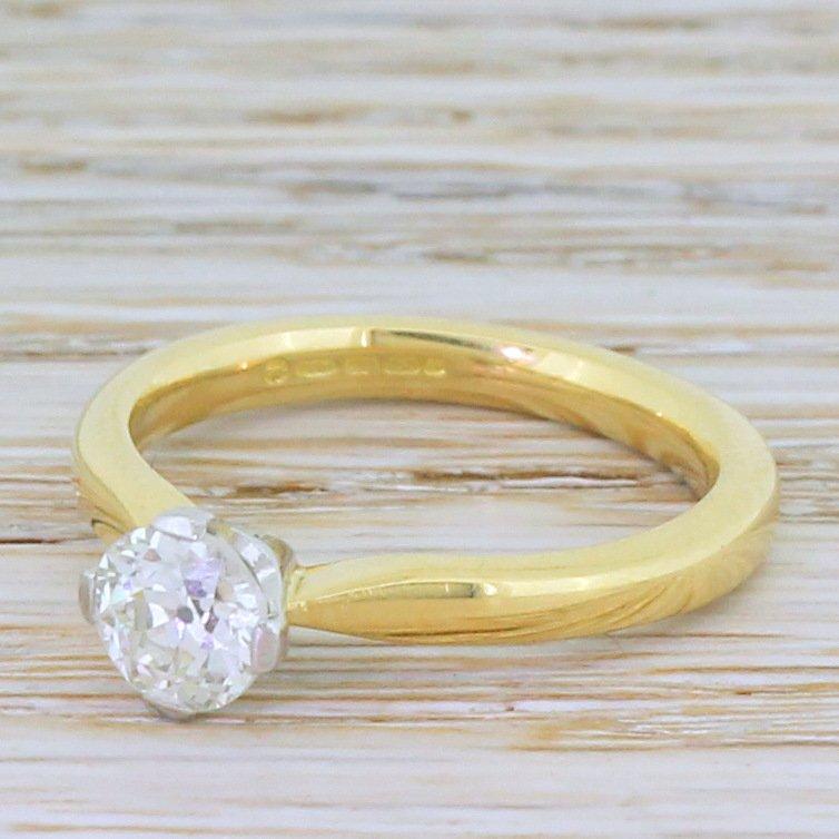 072 carat old cut diamond engagement ring 18k gold 038 platinum