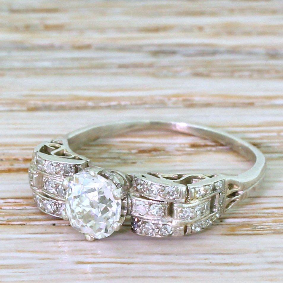 art deco 109 carat old cut diamond engagement ring 1915