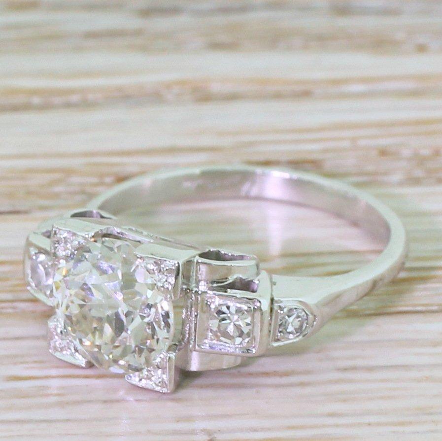 kutchinsky 177 carat old cut diamond engagement ring circa 1950