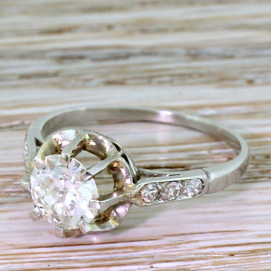 art deco 085 carat old european cut diamond engagement ring circa 1935