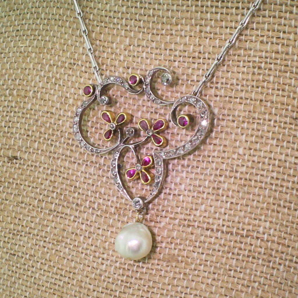 art nouveau ruby diamond 038 natural pearl pendant circa 1900