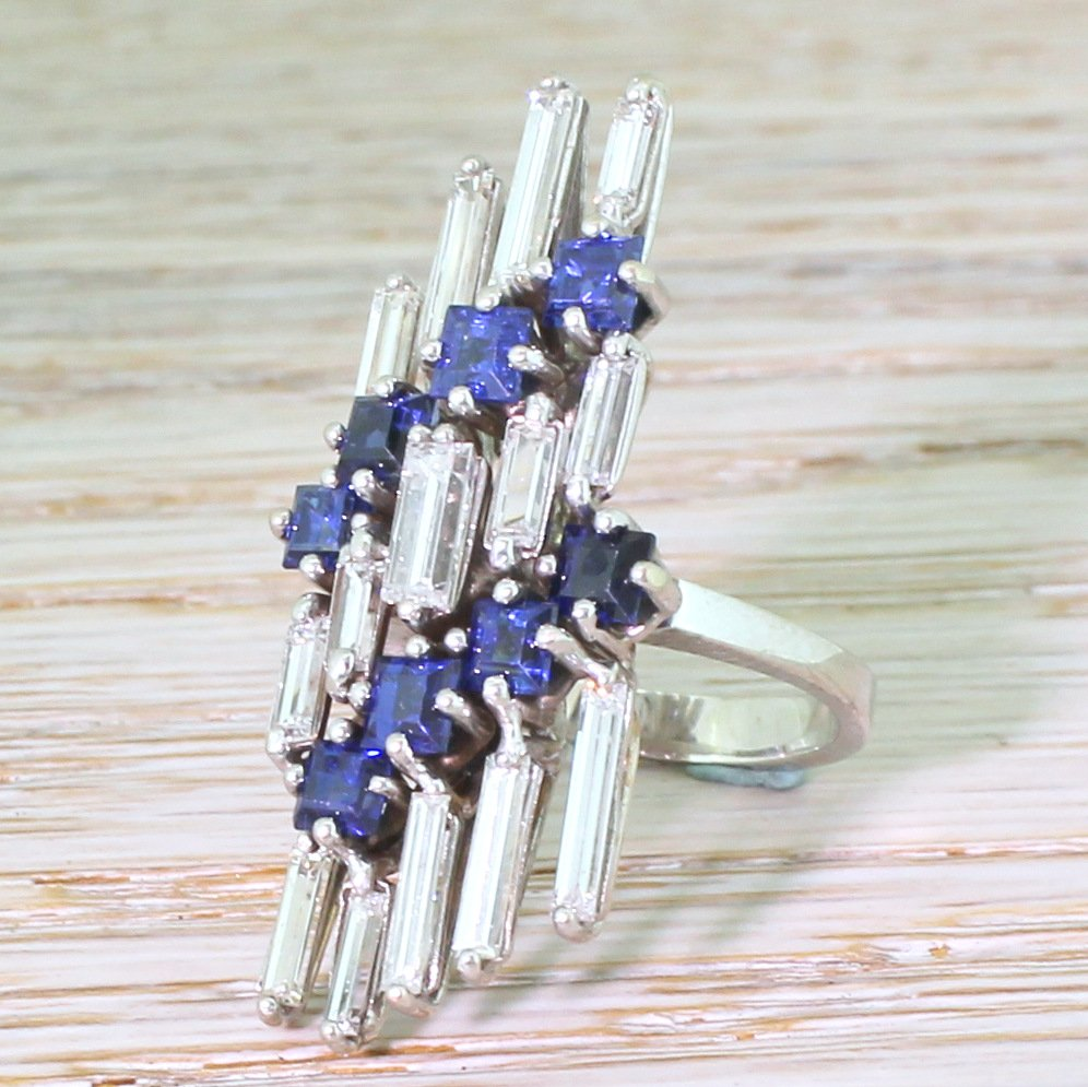 mid century baguette cut diamond 038 sapphire cocktail ring circa 1965