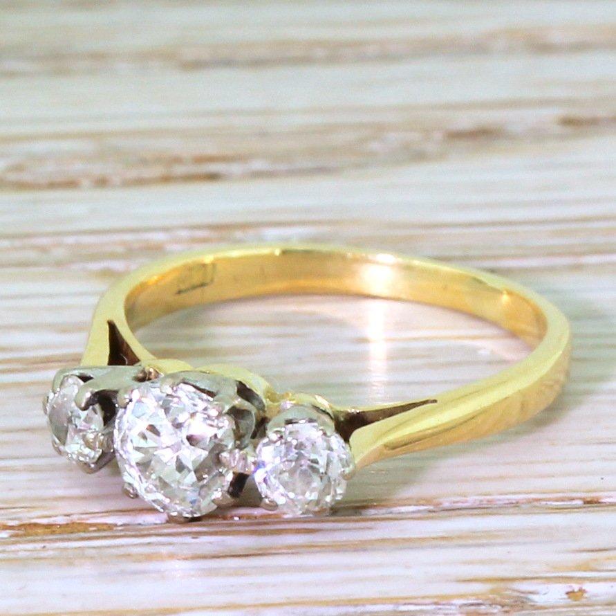 mid century 108 carat old cut diamond trilogy ring circa 1960