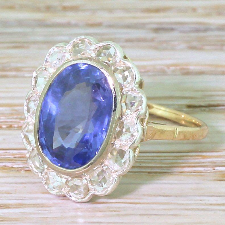 art nouveau 460 carat natural ceylon sapphire 038 rose cut diamond ring french circa 1900