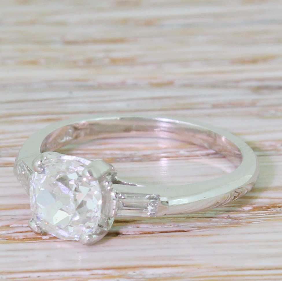 art deco 127 carat old mine cut diamond engagement ring circa 1930