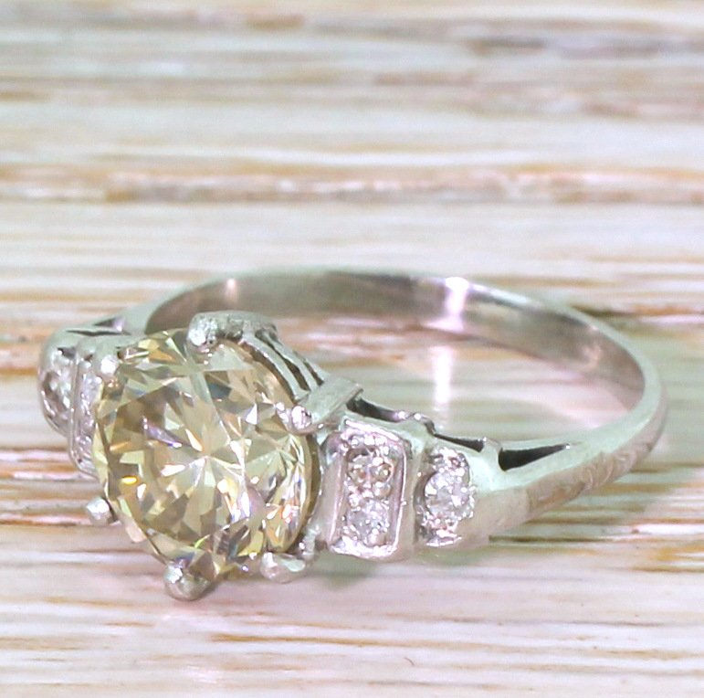 art deco 250 carat light brown transitional cut diamond engagement ring circa 1945