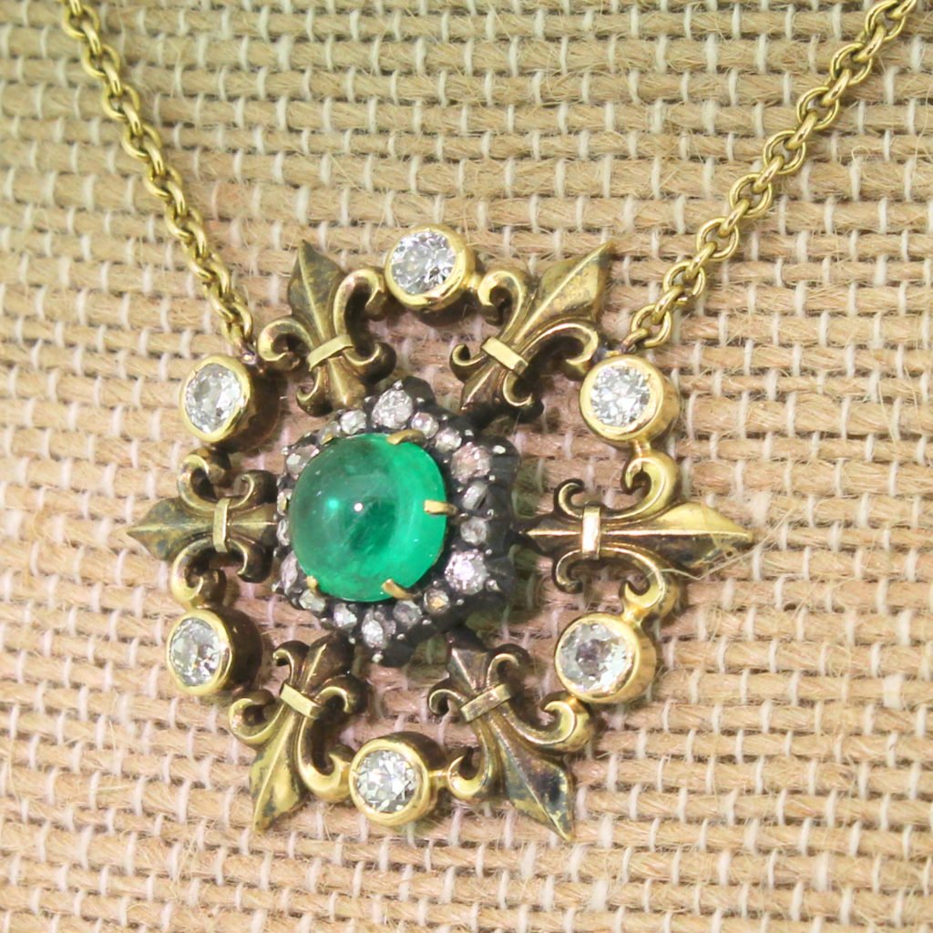 victorian 188 carat cabochon emerald amp diamond pendant necklace circa 1900
